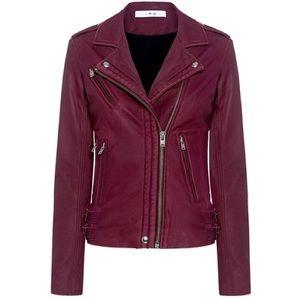 IRO Han Leather Moto Jacket in Cranberry